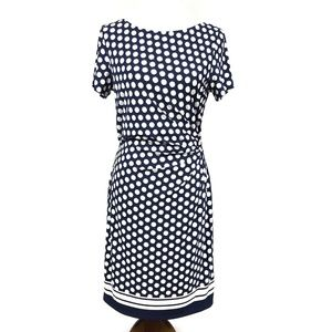 Eliza J Sheath Dress Ruched Tie Waist Polka Dot